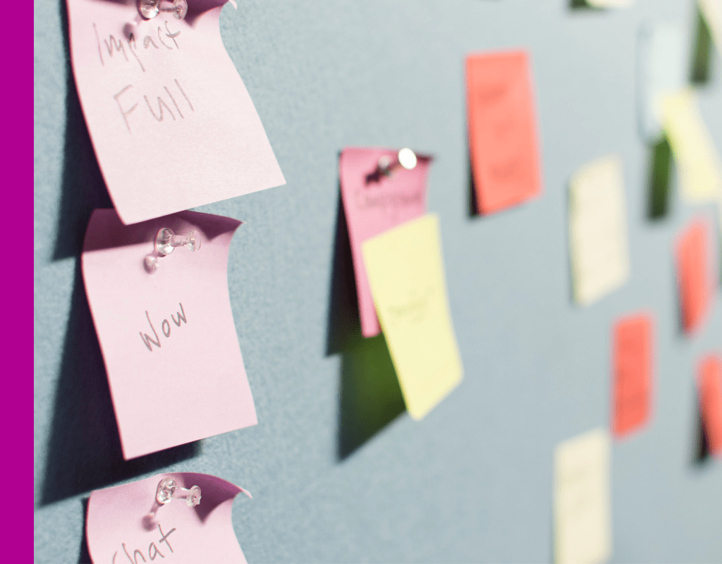 Various notes written on post-it notes