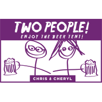 Two People Enjoy the Beer Tent - Chris & Cheryl Logo