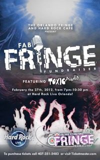 Poster from the first Fab Fringe at Hard Rock Live featuring Toxic Audio