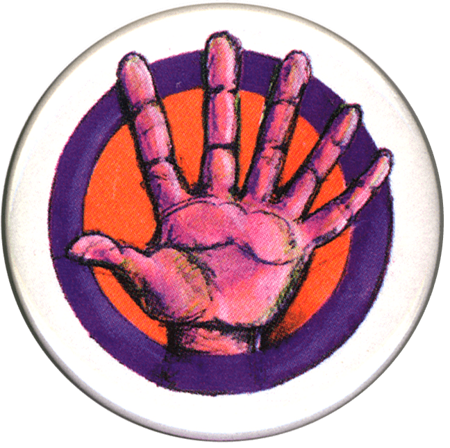 Festival button showing a hand with six fingers.