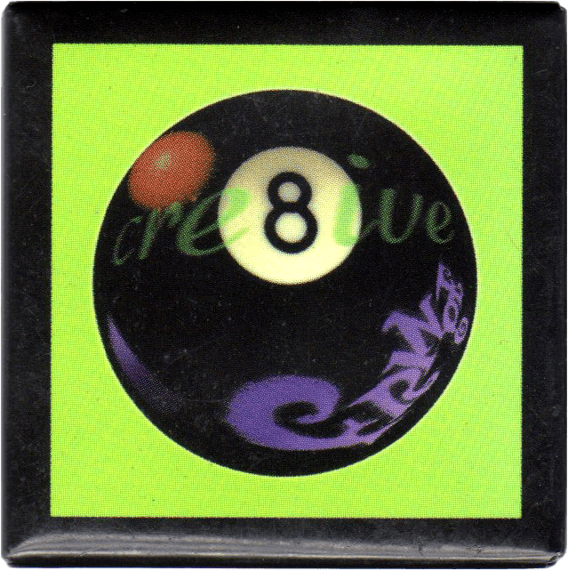 Square Fringe button with an 8-ball on it.