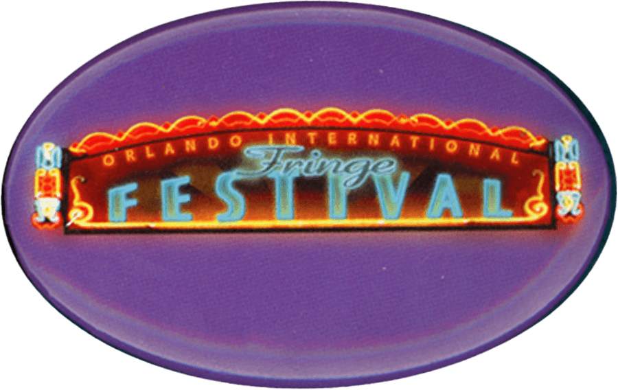 Oval shaped Fringe button with a neon marquee that reads Orlando International Fringe Festival