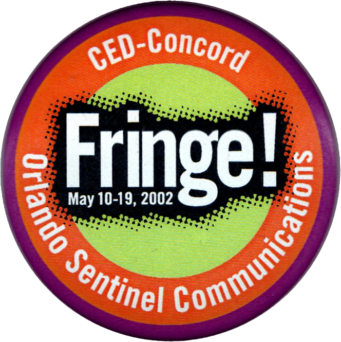 Fringe button for 2002 sponsored by Orlando Sentinel Communications.