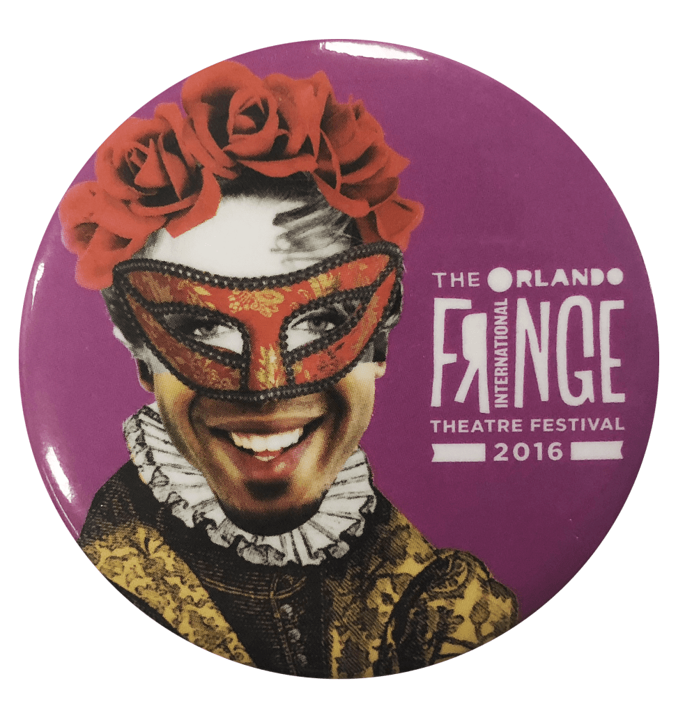 Button of a collage person with a mask and shakespearean clothing.