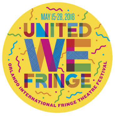 "Yellow button with ""United We Fringe"" printed on it."