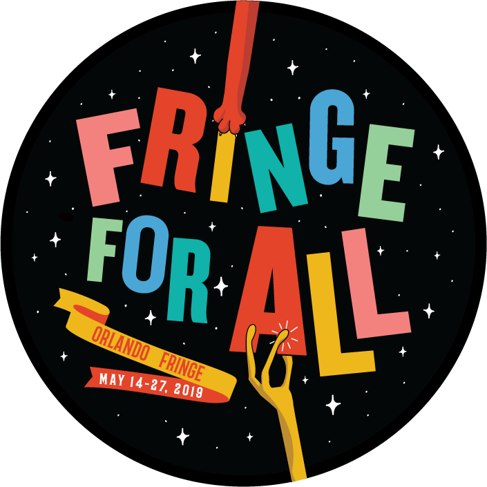 "Black button with colorful letters reading ""Fringe for All"" with strange looking hands holding the letters up."