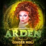 "Red-headed drag queen named Ginger Minj. Text says ""IN THE WINGS PRODUCTIONS PRESENTS ARDEN"""