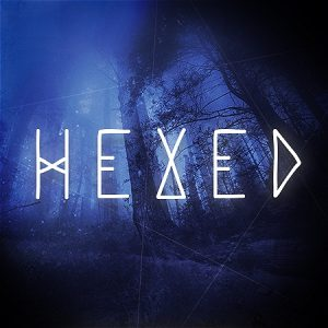 """The woods at night. Text says """"Hexed"""""""