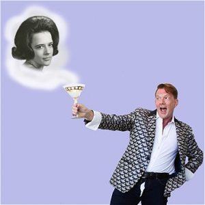 Man raising a glass. Woman in a cloud.