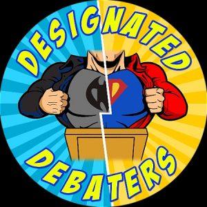 "Batman on left. Superman on right. Podium in center. Text says, ""Designated Debators"""