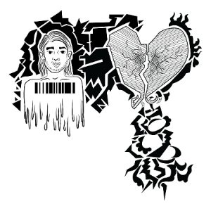 A sketch of a person, a broken heart and abstract elements are pictured.