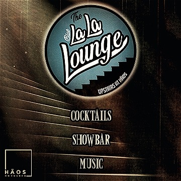"A dark staircase with light coming from the top of the stairs at the top left of the image is pictured. A light blue circle centered in the top of the image has text that reads, ""The Blue LaLa Lounge UPSTAIRS AT H ÄOS."" Other text reads, ""COCKTAILS SHOWBAR MUSIC."""