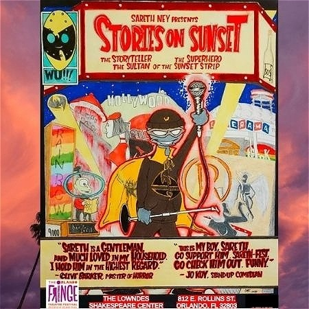 """Various abstract elements are pictured. In the center of the graphic, someone raises a microphone upwards and holds a microphone stand. Text reads, """"SARETH NEY PRESENTS STORIES ON SUNSET."""""""