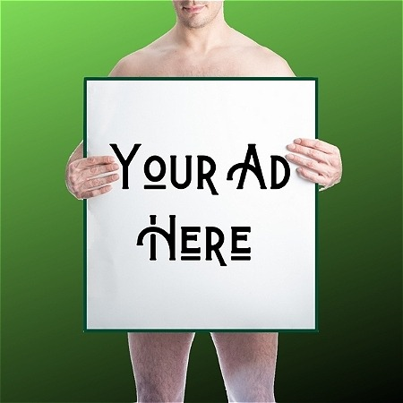 """A person holds a sign with text reading, """"YOUR AD HERE."""" The background of the graphic is green."""
