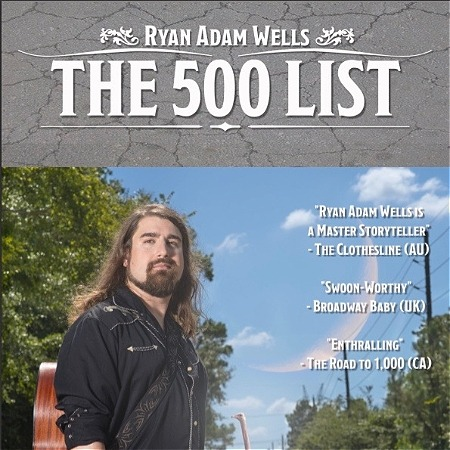 """A man wearing a guitar on a guitar strap is standing looking into the distance. Trees are on both sides of him. Text placed at the top of the graphic against a grey background reads, """"RYAN ADAM WELLS THE 500 LIST."""""""