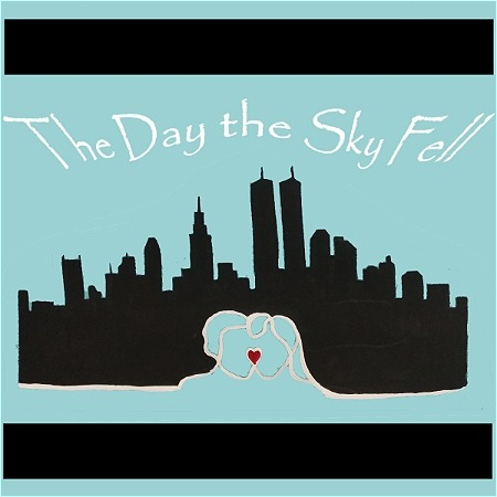 """A dark city landscape with two faces sketched at the center of the bottom of the landscape is pictured. A wide black border spans across the top and bottom of the graphic. Text reads, """"The Day the Sky Fell."""""""