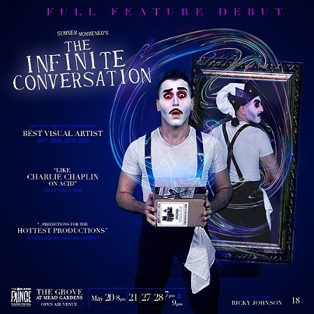 """A man wearing black pants, a white shirt and white face paint holds a cardboard box. A mirror is behind him. The background of the graphic is blue. Text reads, """"FULL FEATURE DEBUT SUMNER MORMENEO'S THE INFINITE CONVERSATION."""""""