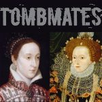 "Two portraits of queens are pictured against a black background. Text reads, ""TOMBMATES."""