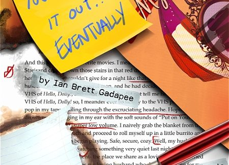 """Sheets of paper, a sticky note, a pen, and abstract elements are pictured. On the note, text reads, """"YOU'LL FIGURE IT OUT...EVENTUALLY."""""""
