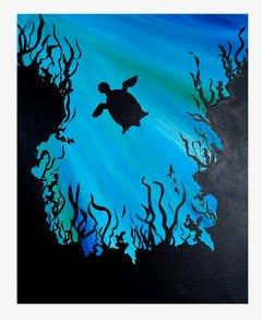 Silhouette of Sea Turtle in the Ocean