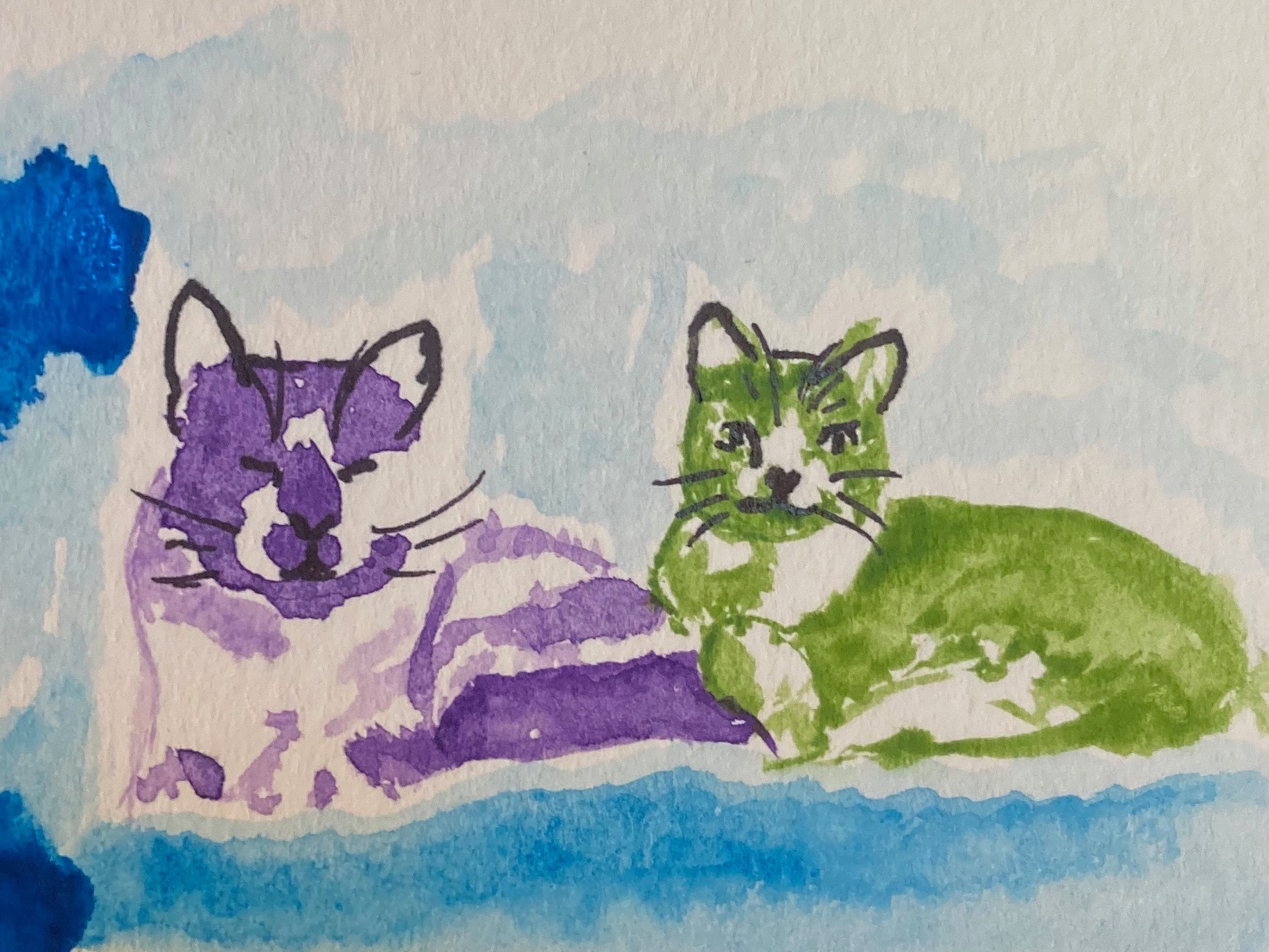Watercolor painting of 2 cats