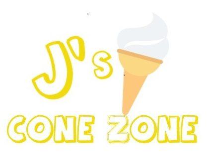 Logo for J's Cone Zone with a cartoon soft serve ice cream cone.
