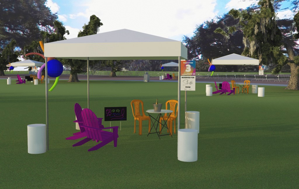 Image of tent on Fringe Lawn with Purple Adirondacks Orange dining chars at small round dining table fun decorations and party pod signage