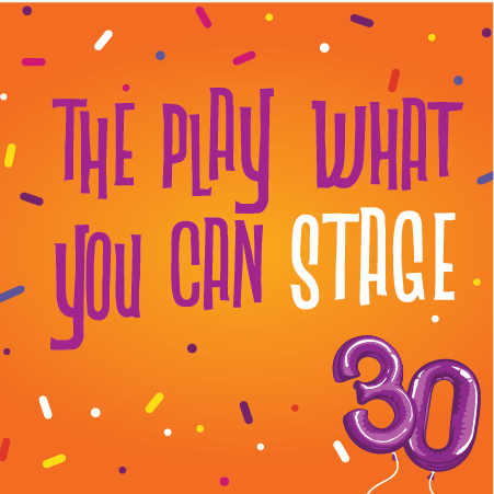The Play What You Can Stage Graphic with a purple balloon that says 30