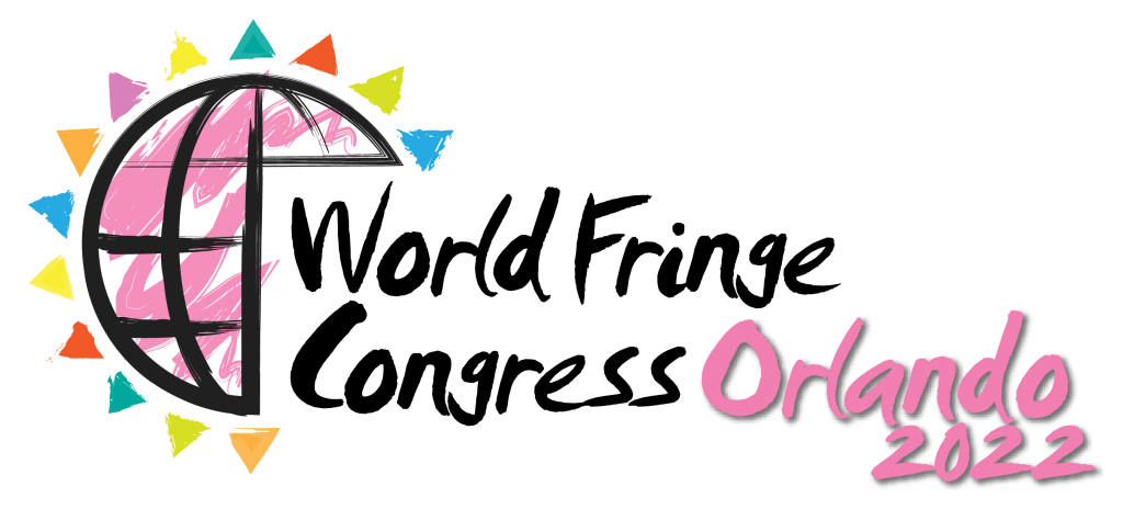 Logo of World Fringe Congress Orlando 2022. Shows an illustrated globe in black with the outer circle and black latitude and longitude lines. with pink scribbles inside of it. There are small rays of color coming from the edges.